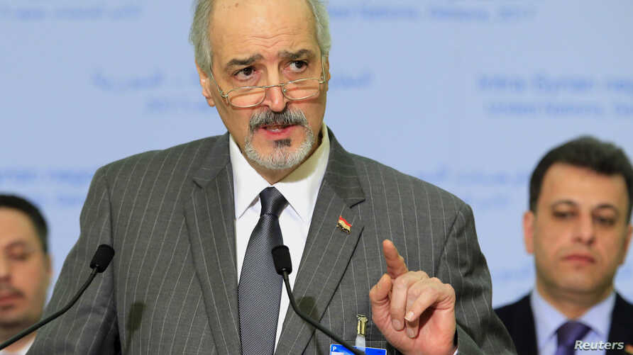 Syrian Ambassador to the U.N. Bashar al Ja'afari, head of the Syrian government delegation addresses the media after a meeting of Intra-Syria peace talks with United Nations Special Envoy for Syria Staffan de Mistura at Palais des Nations in Geneva,