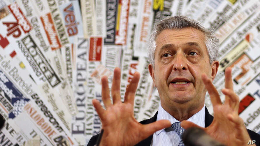 U.N. High Commissioner for Refugees Filippo Grandi meets journalists at the foreign press club in Rome, Sept. 14, 2018.