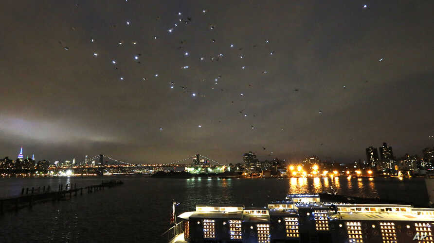 Some of the 2,000 pigeons wearing LED lights fly in the night sky over the Manhattan's East River after they were released from their coops on board the Baylander, lower right, a decommissioned naval ship docked at the Brooklyn Navy Yard, May 5, 2016