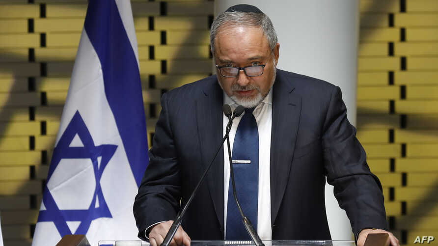 Israeli Defense Minister Avigdor Lieberman speaks during a visit to the new memorial wall for Israel's fallen servicemen and women, at Mount Herzl in Jerusalem, April 30, 2017.