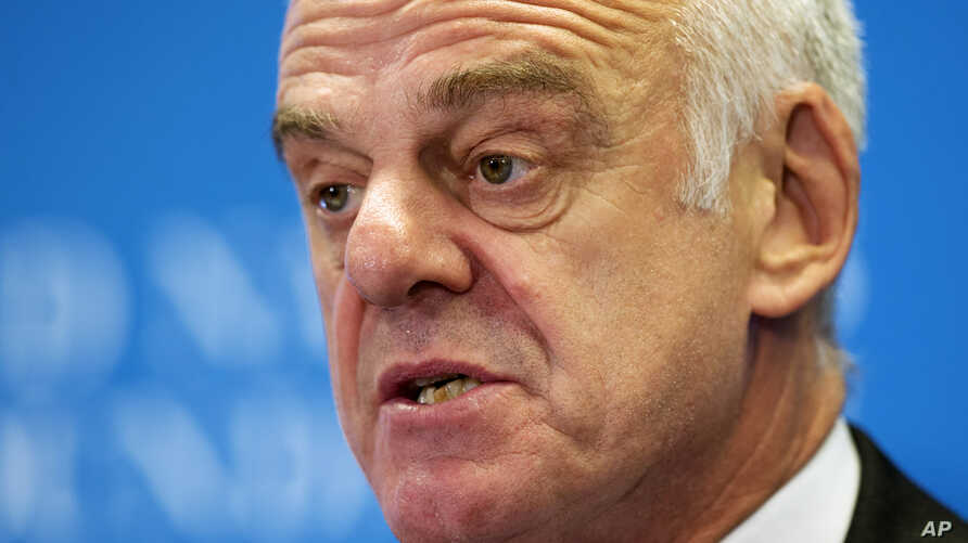 FILE - David Nabarro, special envoy of the U.N. secretary-general, is urging people not to become complacent in the battle against Ebola.