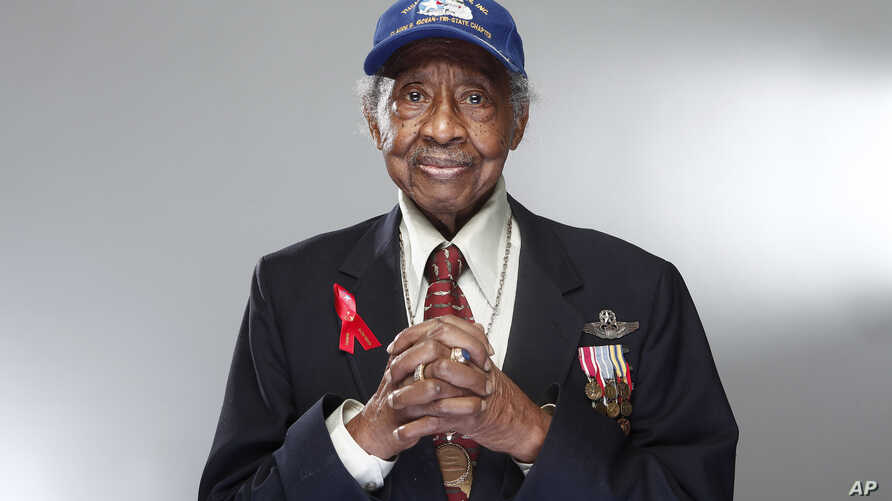 "Tuskegee airman Floyd Carter Sr. poses for a portrait during the ""Red Tails"" junket, Jan. 10, 2012 in New York."