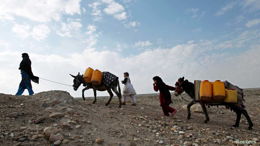 An Afghan internally displaced family carries water containers on their donkeys on the outskirts of Jalalabad city, Afghanistan, January 26, 2015.