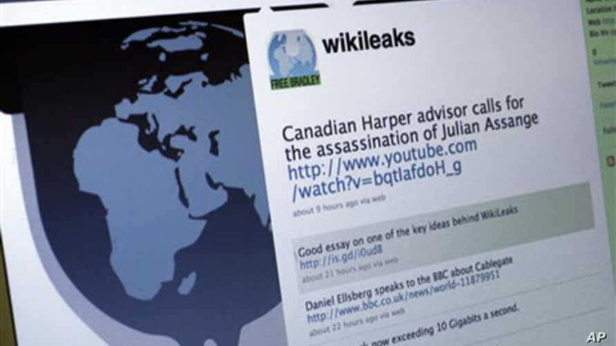 The Twitter homepage of Wikileaks is shown in this photo taken in New York, 01 Dec 2010