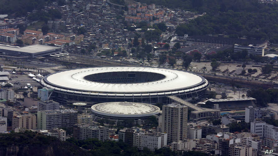 FILE - Maracanã Stadium is shown in this aerial view, in R