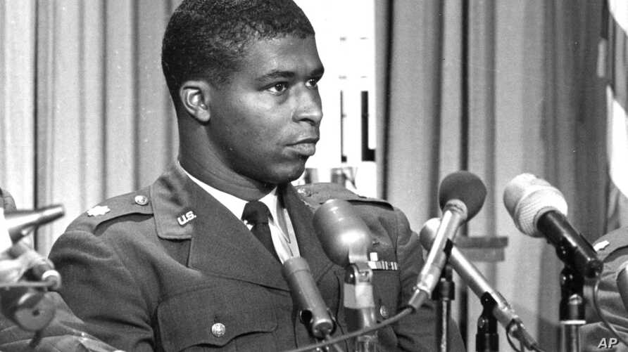 FILE - In this June 30, 1967 file photo, Maj. Robert H. Lawrence Jr., the first black astronaut in the U.S. space program, is introduced at a news conference in El Segundo, Calif. Lawrence was part of a classified military space program in the 1960s.