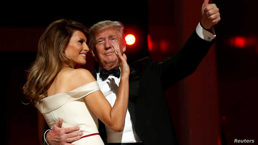 U.S. President Donald Trump and first lady Melania Trump attend the Liberty Ball in honor of his inauguration in Washington, Jan. 20, 2017.