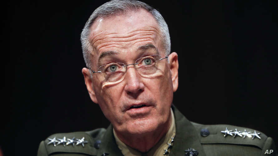 Joint Chiefs Chairman Marine Corps Gen. Joseph Dunford testifies before the Senate Committee on Armed Services on Capitol Hill in Washington, Sept. 26, 2017, to consider his reappointment.