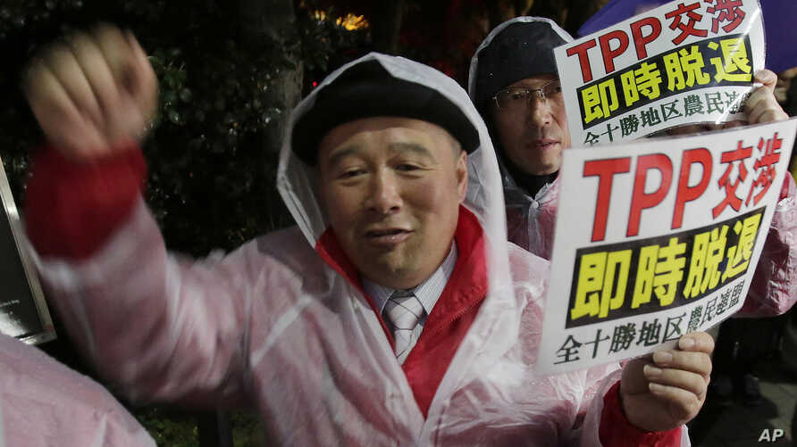FILE - A protester shouts slogans during a rally against the Trans-Pacific Partnership (TPP) in Tokyo, Tuesday, April 22, 2014.