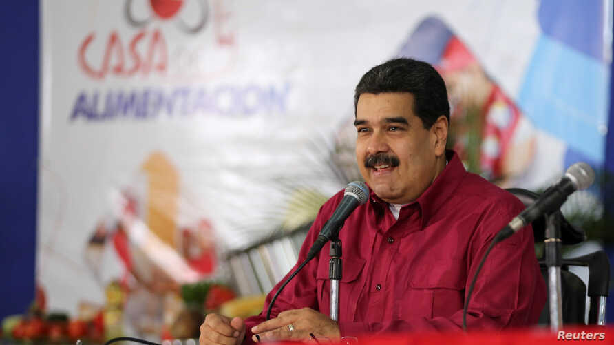 Venezuela's President Nicolas Maduro speaks during an event with supporters in Caracas, Nov. 15, 2017.