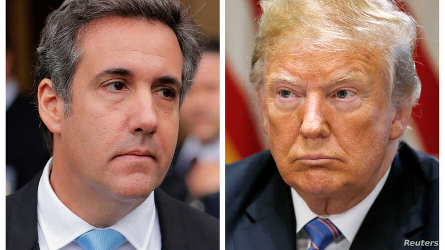 A combination photo shows President Donald Trump's onetime personal attorney, Michael Cohen and  Trump from outside federal court in the Manhattan borough of New York City,  April 16, 2018 and in the White House,  July 18, 2018.