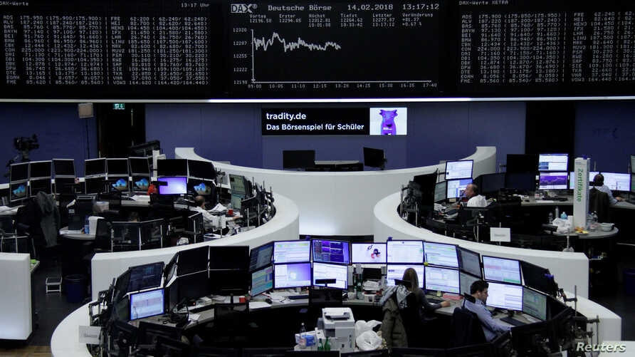 The German share price index, DAX board, is seen at the stock exchange in Frankfurt, Germany, Feb. 14, 2018.