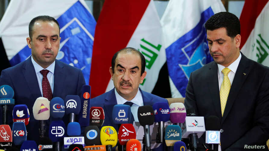 Riyadh al-Badran, the head of Iraq's Independent Higher Electoral Commission, speaks during a news conference on the results of the election in Baghdad, May 19, 2018.