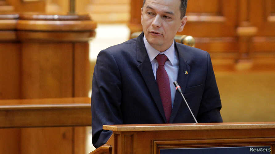 Romanian Prime Minister Sorin Grindeanu speaks during a no-confidence motion in Bucharest, Romania, June 21, 2017.