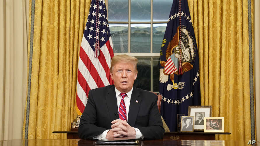 President Donald Trump speaks from the Oval Office of the White House as he gives a prime-time address about border security, Jan. 8, 2018, in Washington.