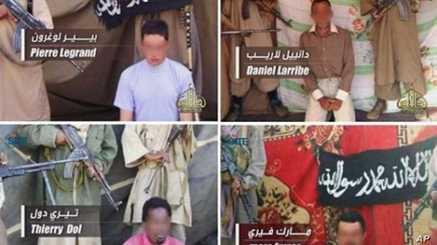 Photos released  April 27, 2011 by Al-Qaeda in the Islamic Maghreb (AQIM) and broadcast on Al-Andalus TV channel shows (clockwise from top L) Pierre Legrand, Daniel Larribe, Thierry Dol and Marc Furrer, the four French hostages captured last Septembe