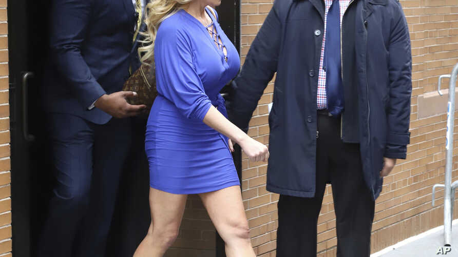 "Adult film actress Stormy Daniels leaving ABC Studios after making an appearance on ""The View"" on April 17, 2018, in New York."