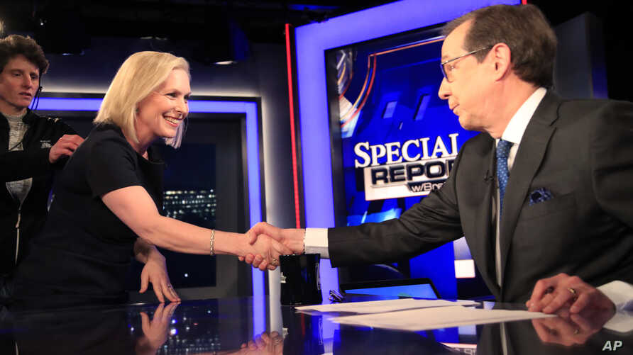 FOX News Channel anchor Chris Wallace concludes his interview with Democratic presidential candidate Kirsten Gillibrand on Special Report, in Washington, Feb. 25, 2019.