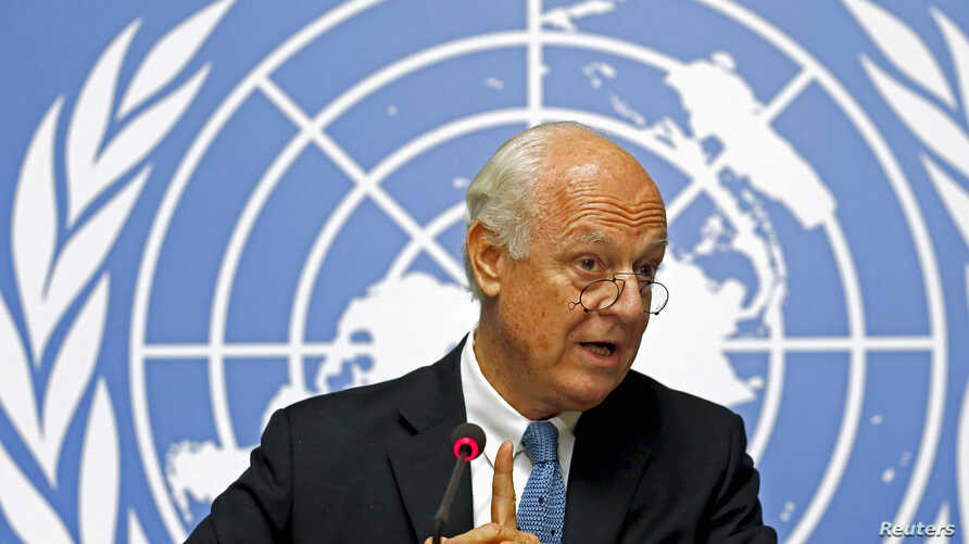 United Nations Special Envoy for Syria, Staffan de Mistura, addresses a news conference on the latest developments in Syria at the United Nations European headquarters in Geneva, Switzerland, Oct. 12, 2015.