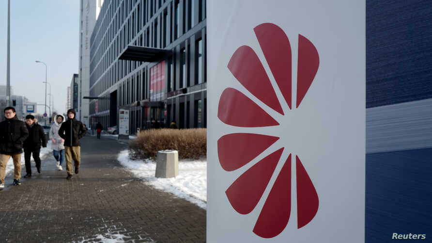 Logo of Huawei is seen on the advert in front of the local offices of Huawei in Warsaw, Poland, Jan. 11, 2019.