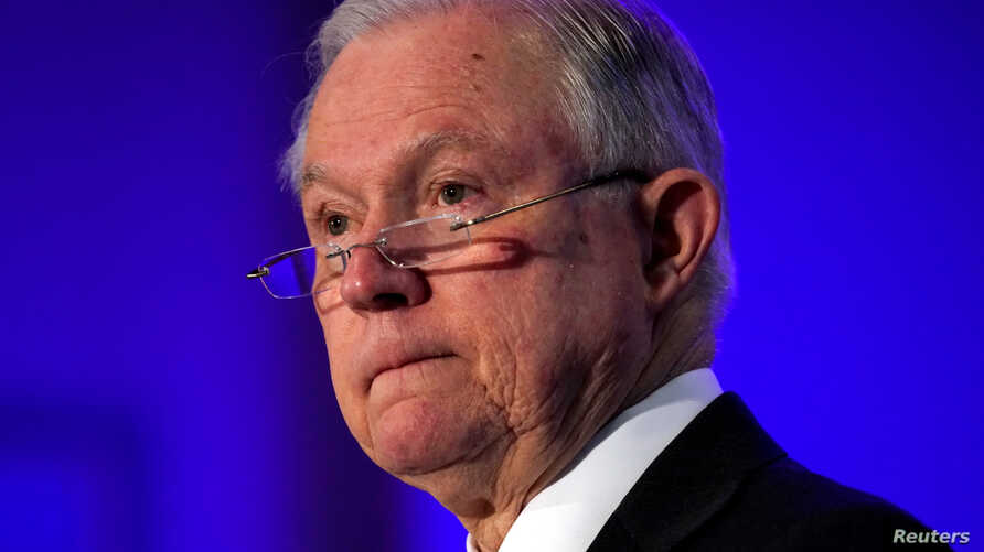FILE - U.S. Attorney General Jeff Sessions is pictured speaking to the National Sheriffs Association Winter Conference in Washington, Feb. 12, 2018.
