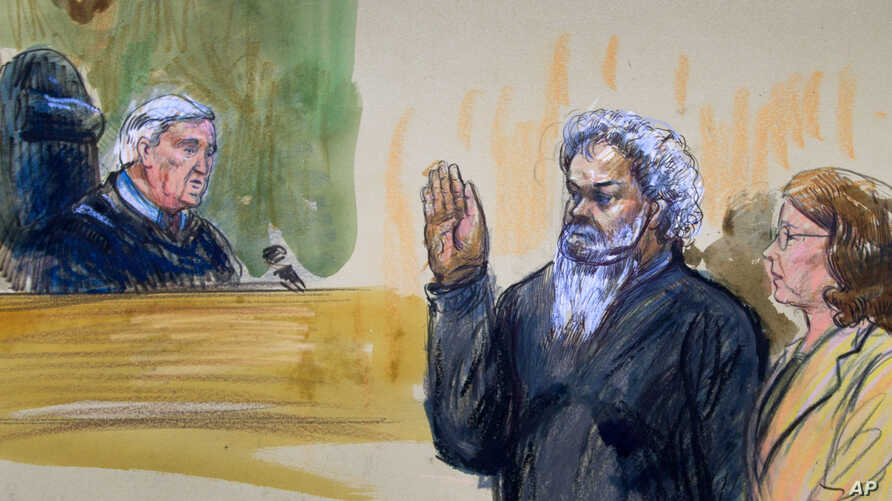 This artist's rendering shows United States Magistrate, Judge John Facciola, swearing in the defendant, Libyan militant Ahmed Abu Khatallah, wearing a headphone, as his attorney Michelle Peterson looks on during a hearing at the federal U.S. District