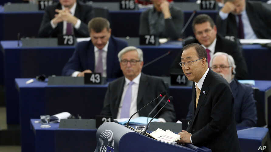 U.N. Secretary General Ban Ki-moon addresses lawmakers of the European Parliament in Strasbourg, France, ahead of the body's vote on the Paris climate agreement, Oct. 4, 2016.