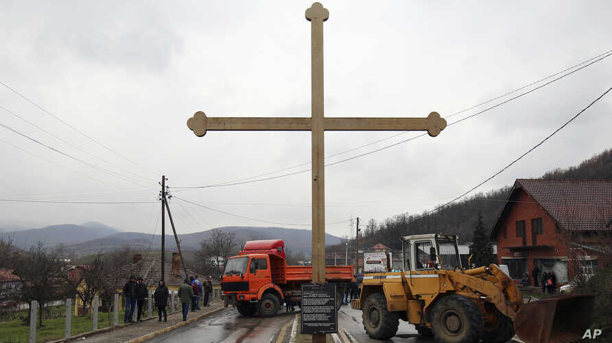 Kosovo Serbs set up a road block near the northern, Serb-dominated part of Mitrovica, Kosovo, March 27, 2018.