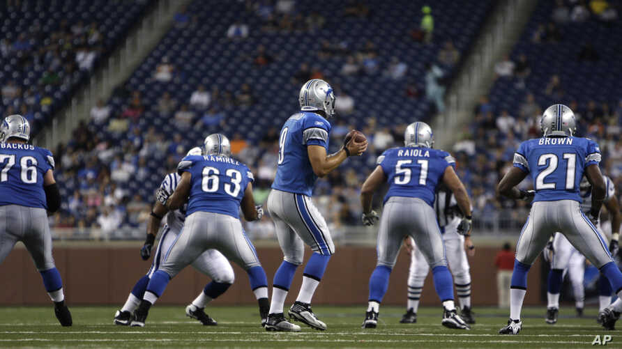 FILE - Detroit Lions quarterback Matthew Stafford drops back to pass against the Indianapolis Colts during the second quarter of a exhibition NFL football game at Ford Field in Detroit.