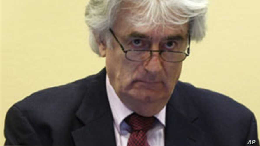 Wartime Bosnian Serb leader Radovan Karadzic appears in court for the International Criminal Tribunal in the Hague, 03 Nov 2009