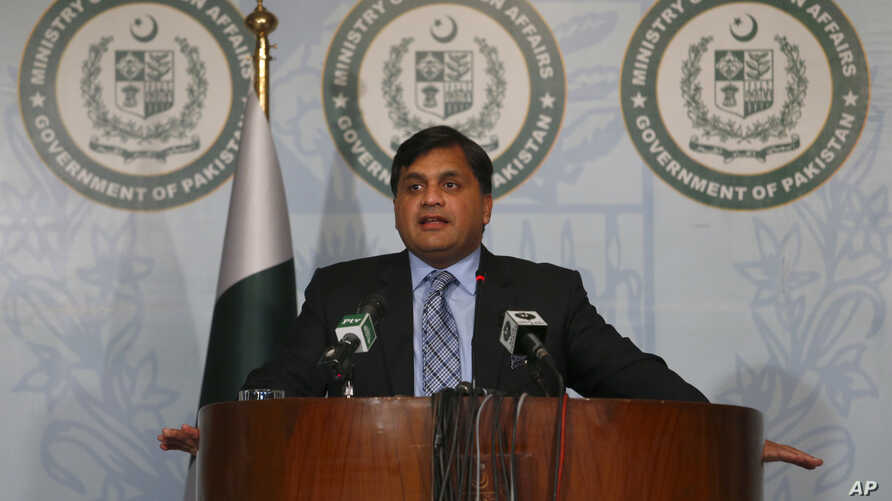 FILE - Pakistan's Foreign Ministry spokesman Mohammad Faisal briefs journalists in Islamabad, Pakistan, Feb. 4, 2018.