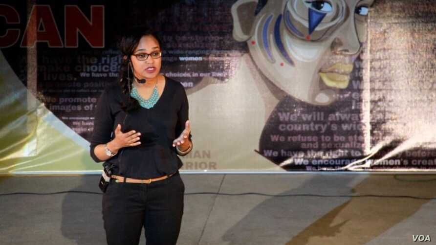Najla Salih presents her poetry as a new view of Sudan, women and beauty on a TED talk. (Courtesy Najla Salih)