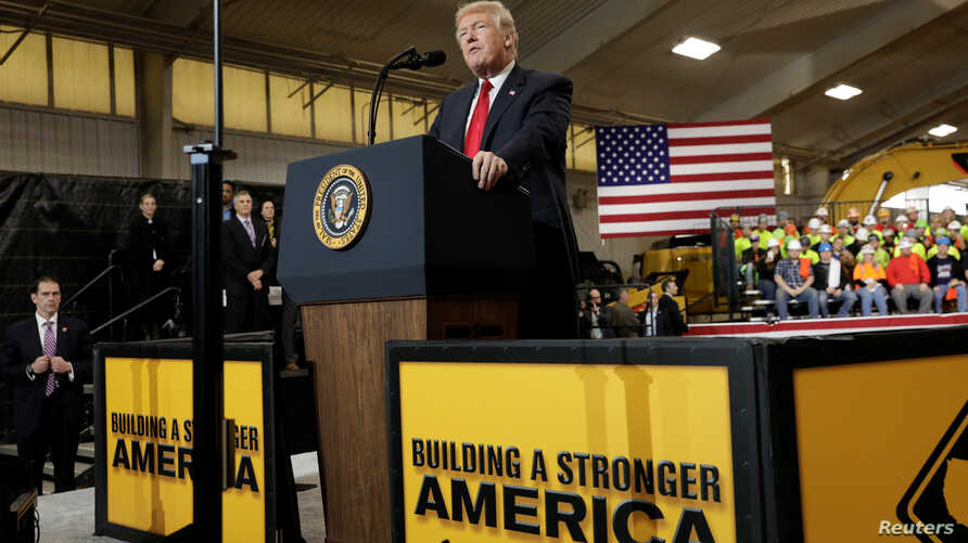 FILE - U.S. President Donald Trump delivers remarks on U.S. infrastructure, in Richfield, Ohio, March 29, 2018.