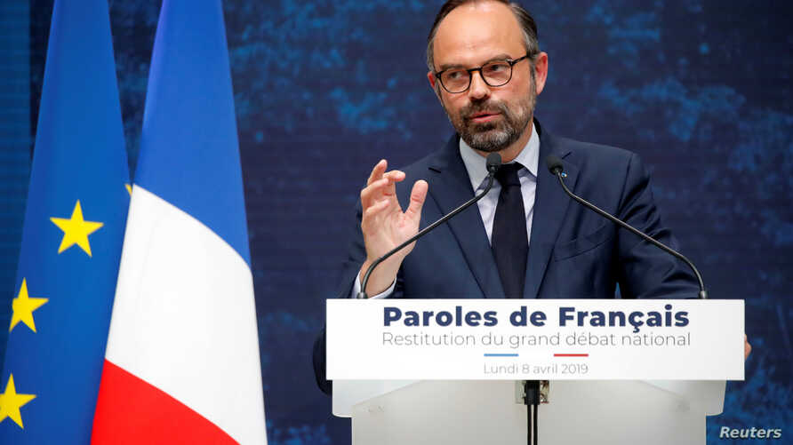 "French Prime Minister Edouard Philippe delivers a speech during the presentation of the ""Great National Debate"" findings, called to quell the anger of French ""yellow vests"" movement, at the Grand Palais in Paris, France, Apr. 8, 2019."