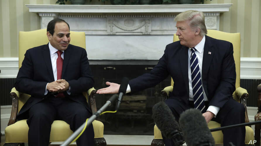President Donald Trump meets with Egyptian President Abdel Fattah al-Sisi in the Oval Office of the White House in Washington, April, 3, 2017.