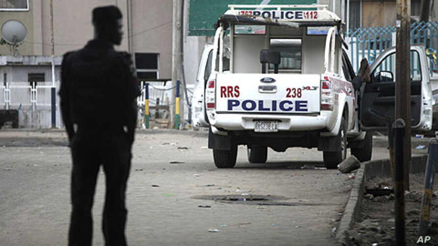 A police vehicle is parked along a road in Nigeria's commercial capital Lagos.(file photo)