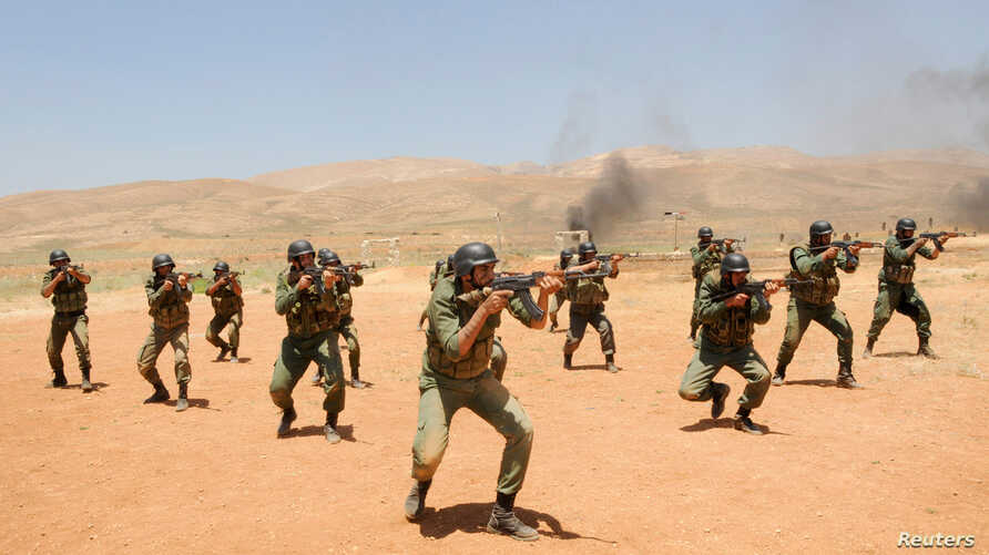 Security forces loyal to Syria's President Bashar al-Assad take part in a field exercise at an undisclosed location. (SANA via Reuters)