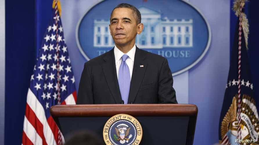 U.S. President Barack Obama holds year-end news conference, White House briefing room, Washington, Dec. 20, 2013.