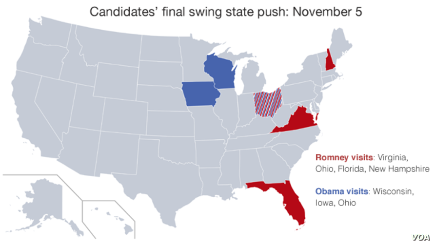 Mitt Romney and Barack Obama are visiting these key swing states on the day before election day.