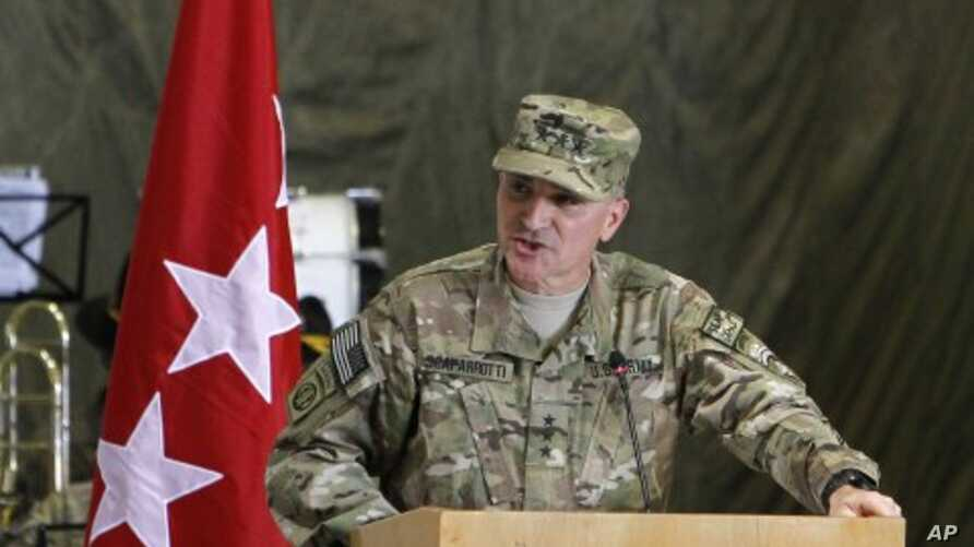 Incoming Lieutenant General Curtis M. Scaparrotti speaks during a change of command ceremony in Kabul. (File Photo - July 11, 2011)