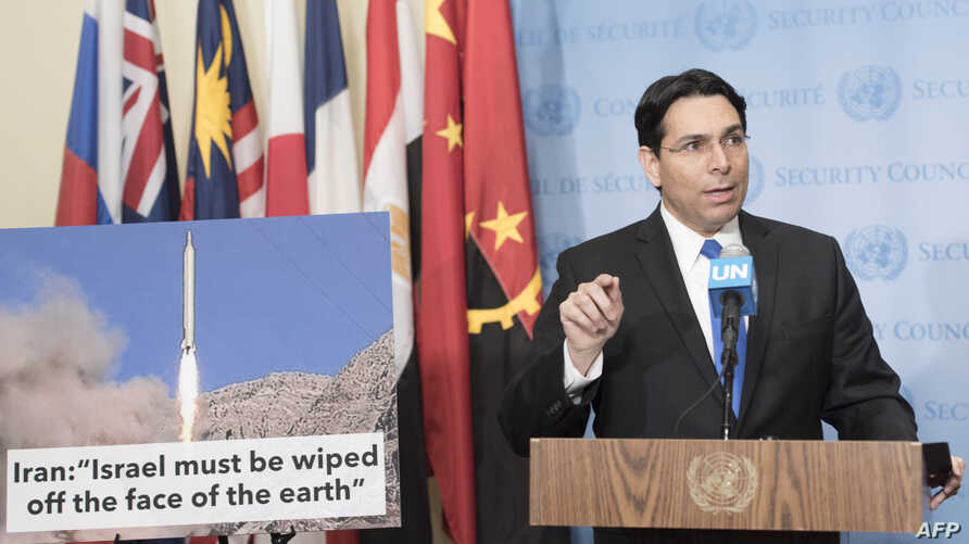 Danny Danon, Permanent Representative of Israel to the UN, speaks to the media at Security Council Stakeout, March 14, 2016 at the UN in New York.