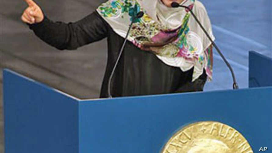 Nobel Peace Prize winner and human rights activist Tawakkol Karman of Yemen speaks at City Hall in Oslo, Norway, December 10, 2011.