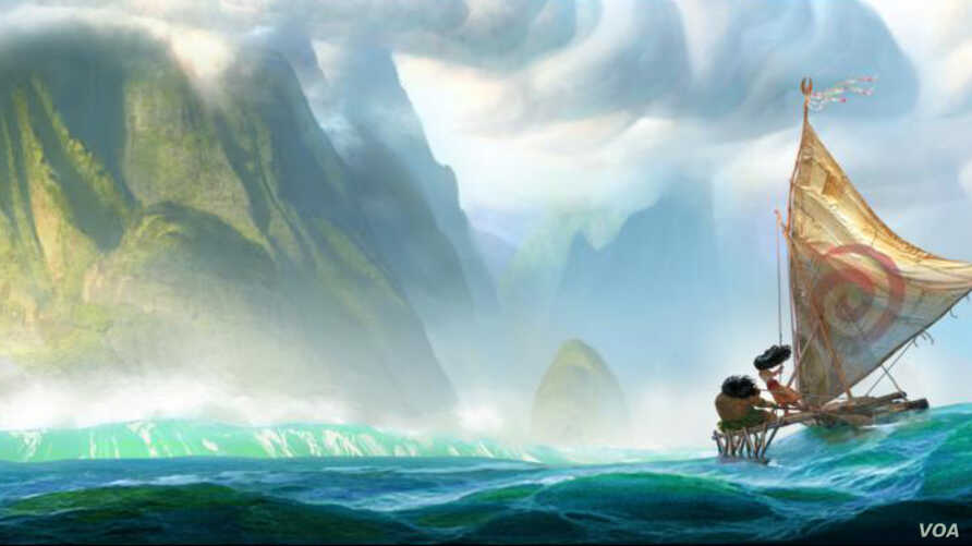 Moana and Maui sail toward land in this concept drawing for the movie.