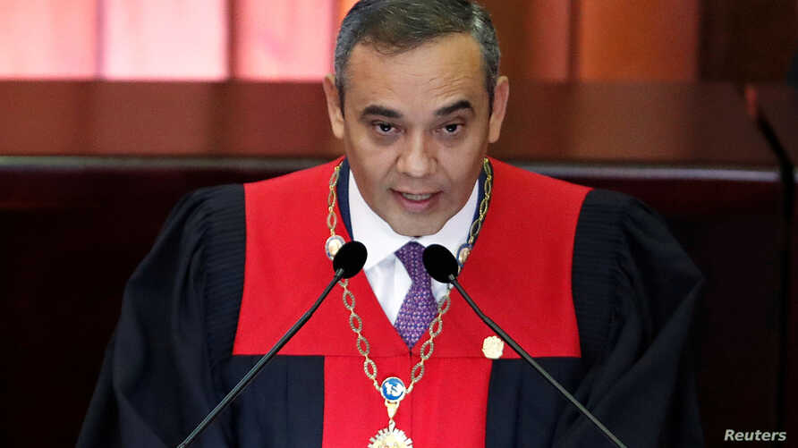Venezuela's Supreme Court President Maikel Moreno speaks during a ceremony to mark the opening of the judicial year at the Supreme Court of Justice (TSJ), in Caracas, Venezuela, Jan. 24, 2019.