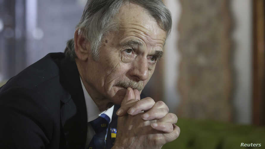 Crimean Tatars leader Mustafa Dzhemilev during an interview in Kyiv, March 15, 2014.