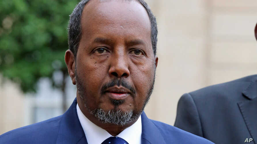 FILE - Somalia President Hassan Sheikh Mohamud at the Elysee Palace, Oct. 15, 2014.