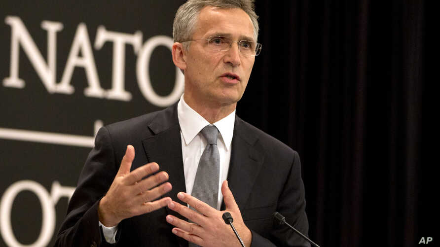 NATO Secretary General Jens Stoltenberg speaks during a media conference at NATO headquarters in Brussels, June 13, 2016.