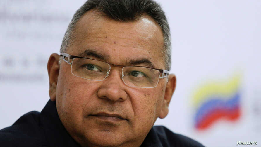 FILE - Venezuela's Interior and Justice Minister Nestor Reverol attends a news conference in Caracas, Venezuela, April 6, 2017.