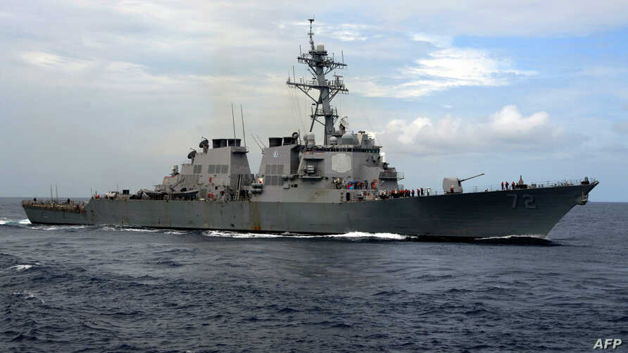 FILE - A picture downloaded from the US Navy website shows the guided-missile destroyer USS Mahan (DDG 72) steaming in the Atlantic Ocean during a training exercise, July 18, 2007.