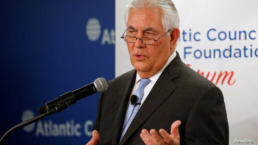 U.S. Secretary of State Rex Tillerson delivers remarks on the U.S.-Korea relationship during a forum at the Atlantic Council in Washington, Dec. 12, 2017.